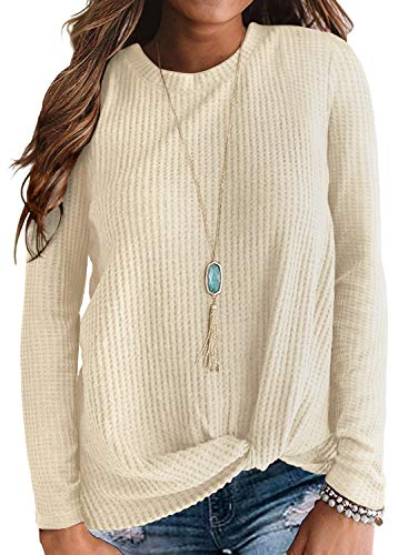 Neineiwu Womens Loose Blouse Long Sleeve T Shirts Twist Knot Casual Tops