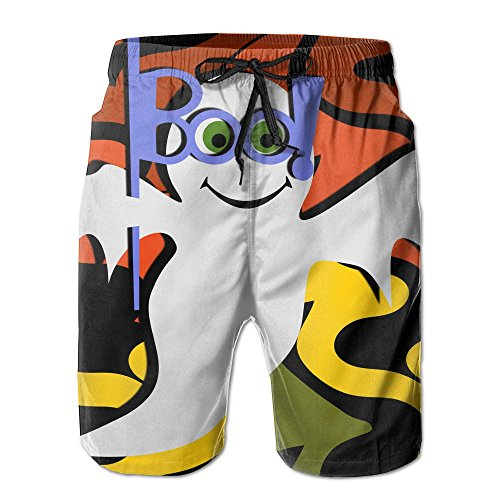 Happy Halloween Cute Ghost Wallpaper Knee Length Men's Surfing Boardshorts With -