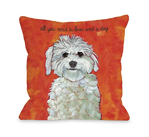 "One Bella Casa 11022PL16 Love and A Dog Pillow by Ursula Dodge, 16"" x 16"", Red/Orange from One Bella Casa"