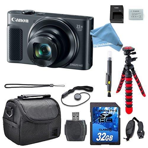 Canon PowerShot sx620 HSデジタルカメラバンドル(シルバー) 32 GBメモリカード+ Spider三脚+カメラケース+手首グリップ& digitalandmoreフリーデラックスアクセサリーキットバンドル   B077SZL7R4