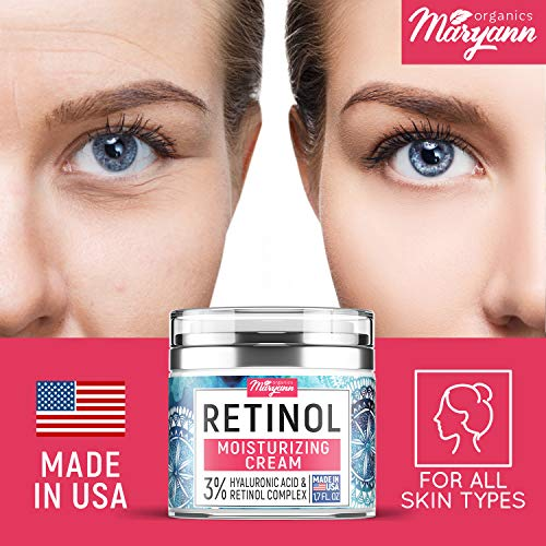 51dLyX2BFbL - Anti Aging Retinol Moisturizer Cream for Face - Natural and Organic Night Cream - Made in USA - Wrinkle Cream for Women and Men - Facial Cream with Hyaluronic Acid and 3% Retinol Complex