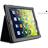 HCHA iPad 2 Smart Case Cover iPad 3 Girls Case iPad 4 Protective Premium Leather Folio Stand Cases Auto Sleep / Wake Flip Case Cover Slim Fit iPad 2/3/4 Generation 9.7 Inch (Black)