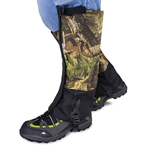 (Qshare Leg Gaiters for Boots - Waterproof Hiking Climbing Hunting Snow High Leg Gaiters(Men and Women) (Woods,)