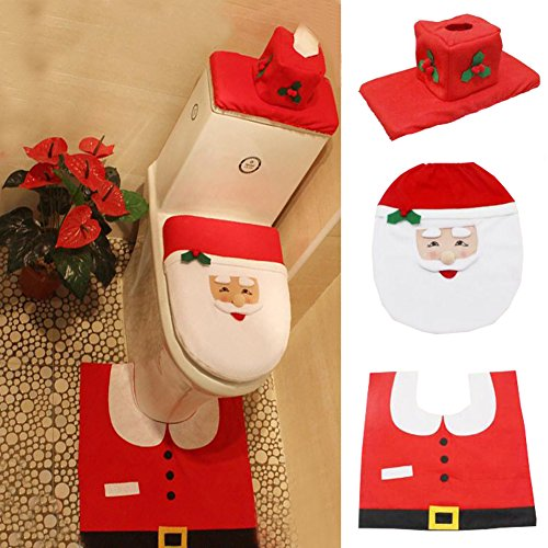 October Elf 3 Piece Bath Mat Set Christmas Decorations Happy Santa Toilet Seat Cover Set (D) ()