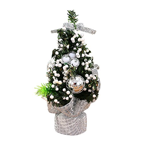 Iusun Christmas Tree Table Decoration Bedroom Desk Ornament for Home Office Supplies Gift (White)