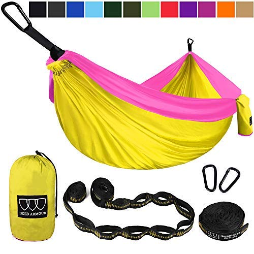 (Gold Armour Camping Hammock - XL Double Parachute Camping Hammock (2 Tree Straps 16 LOOPS/10 FT Included) Lightweight Nylon Portable Hammock, Best Parachute Double Hammock (Yellow/Pink))