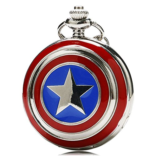 GORBEN Five-pointed Star America Quartz Pocket Watch with Necklace Chain for Kids
