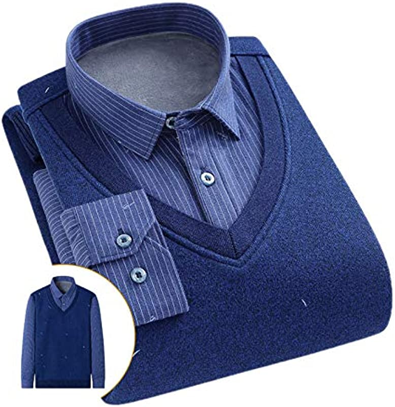 Elonglin Męskie Jungen Dicke Sweater Strick Pullover Hemd Langarmshirts mit Warmfutter Freizeit Slim Fit Blau 4 M: Odzież