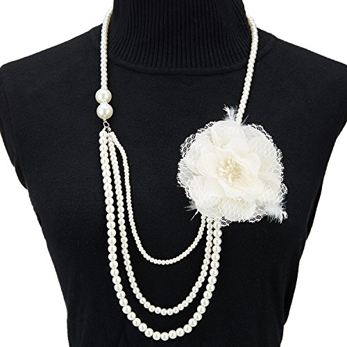 QNPRT 1920s Gatsby Necklace Faux Ivory Pearl Cream Extra Long (One Size, C) (Flapper Apparel)