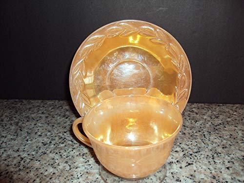 Vintage Fire King Laurel Leaf Peach Luster Tea Cup Saucer ()
