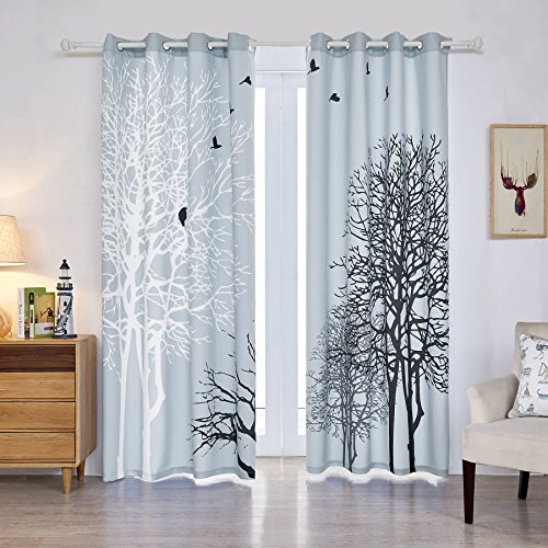 Fassbel 2 Panel Set Digital Printed Blackout Window Curtains Thermal Insulated for Bedroom Living Room Dining Room Kids Youth Room Window Drapes (W54× L95, Dead Branches)