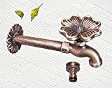 Decorative Solid Brass Flower Garden Outdoor Faucet - With a Brass Connecter