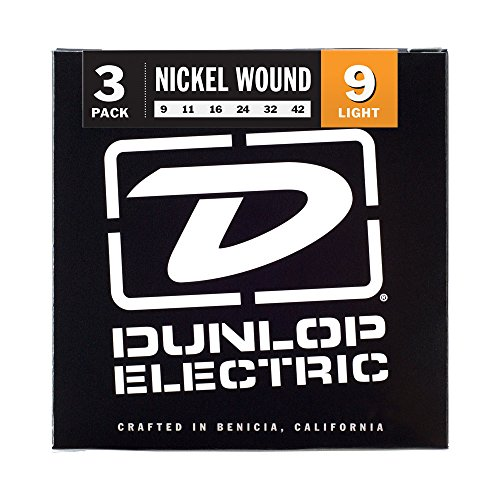 Dunlop 3PDEN0942 Nickel Wound Electric Guitar Strings, Light, .009-.042, 3 ()