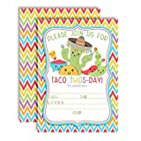 Taco TWOS-Day Adorable 2nd Birthday Fiesta Party Invitations, 20 5''x7'' Fill in Cards with Twenty White Envelopes by AmandaCreation