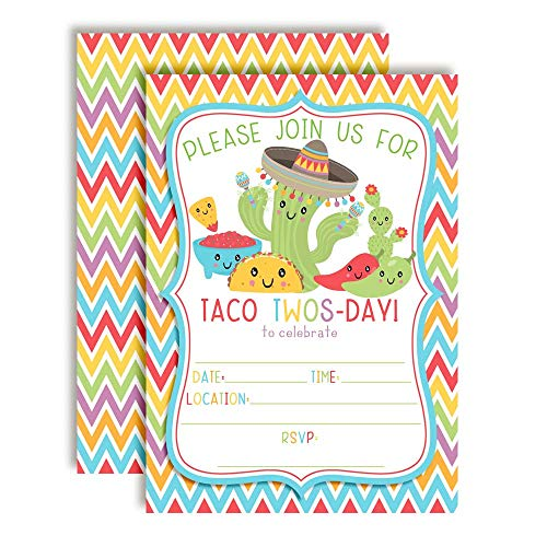 Taco TWOS-Day Adorable 2nd Birthday Fiesta Party Invitations, 20 5