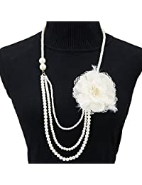 1920s Deco Gatsby Necklace,Faux Pearls Flapper Beads Charm Choker for Womens