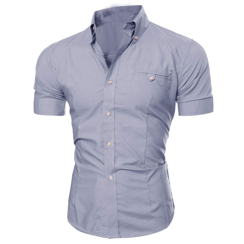 Mens Casual Button T-Shirt O Neck Pullover Short Sleeve Blouse Tops