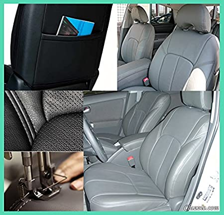 Clazzio 221121gryy Grey Leather Front Row Seat Cover for Toyota Tundra Crew Max