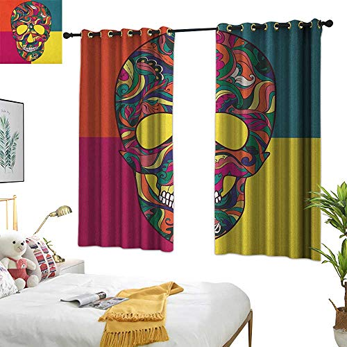 Warm Family Linen Curtains Sugar Skull,Colorful Calavera Themed Artwork Catrina Day of The Dead Mexican Culture Theme, Multicolor 84