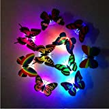 3D Butterfly Wall Stickers LED Lights Colorful Changing Night Light House Decoration Flashing Lighting Decal Lamp for Livingroom Bedroom (2PCS)