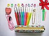 Crochet Hooks Set,Ergonomic Grip,Crochet Hooks,Mom Gifts,Best Crochet Hook,Best Friend Gifts,With Crochet Hook Case,Great Crochet Starter Kit,Easy Grip Crochet Needles,Aluminum Crochet Hook Set,Best Birthday Gifts for Her,Crochet Hooks Ergonomic + Yarn Needles,Stitch Markers,Cute Knitting Stitch Row Counter Mini Kacha,etc.