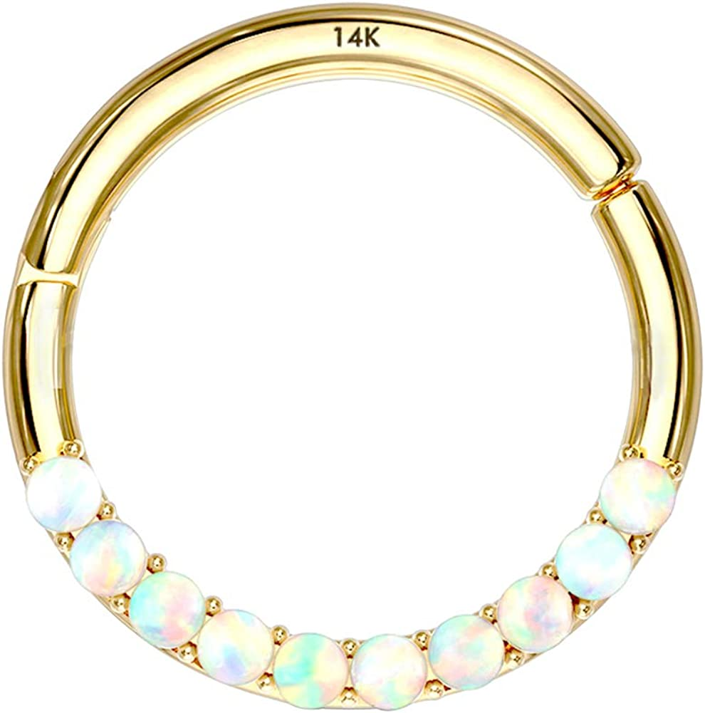 Jewseen 14Kt Gold Opal Lined Set Hinged Segment Hoop Rings Septum Clicker Nose Rings Daith Trgaus Helix Earring Body Piercing