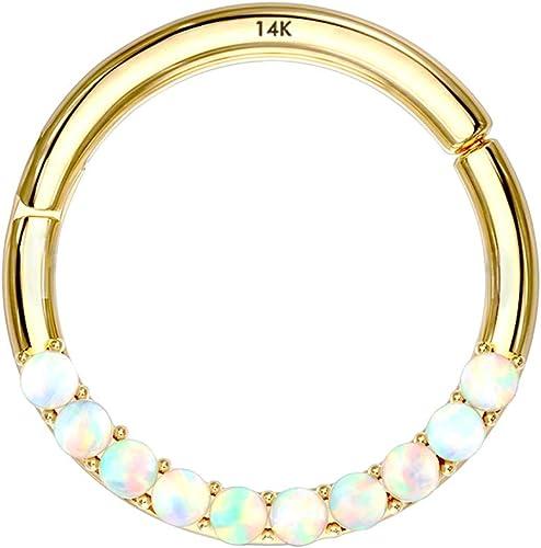 14K Solid Gold Nose Ring Gold Clicker Hoop