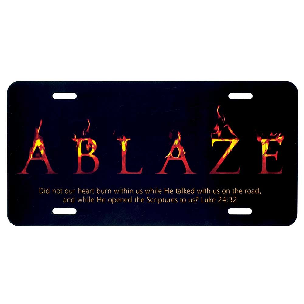 Hearts Ablaze Luke 24:32 Inspirational Metal Vehicle License Plate Dicksons