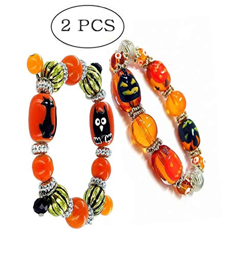Linpeng Halloween Stretch Bracelets/ 8 to 18mm Hand Painted Black Cat Owl Pumpkin Glass Beads/Adult & Kid Sizes Around 6 to 7.5 in Length/Orange Black Gold / 2pcs Set