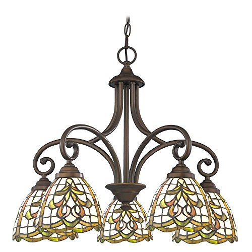 Chandelier with Multi-Color Glass in Bronze Finish - Beaumont Ceiling Chandelier