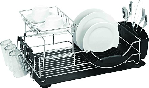 Home Basics DELUXE 2-Tier Dish RACK and Drainer, Black by Home Basics
