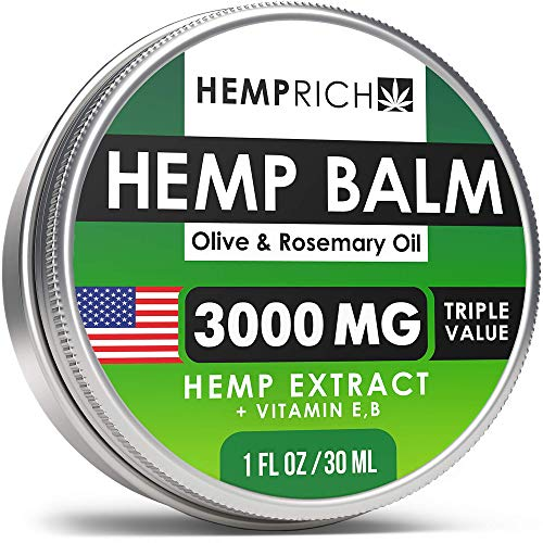 Hemp Balm for Pain Relief - 3000 Mg - Made in USA - with Rosemary Oil & Olive Oil - Neck, Knee, Back Pain Reliever - Potent Hemp Oil Cream - Fast Sore Muscle & Joint Ache Relief - Non-GMO