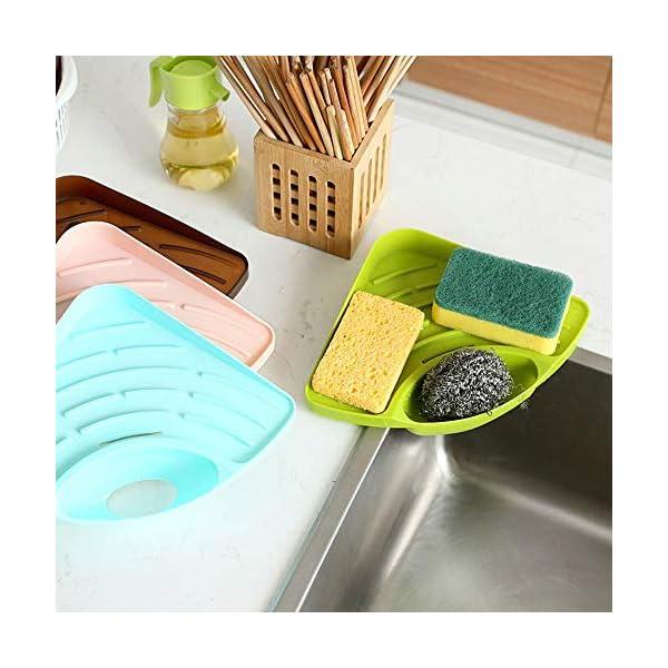 Angel Bear Multipurpose Corner Kitchen Sink Wash Basin Storage Organizer Rack, Random Color