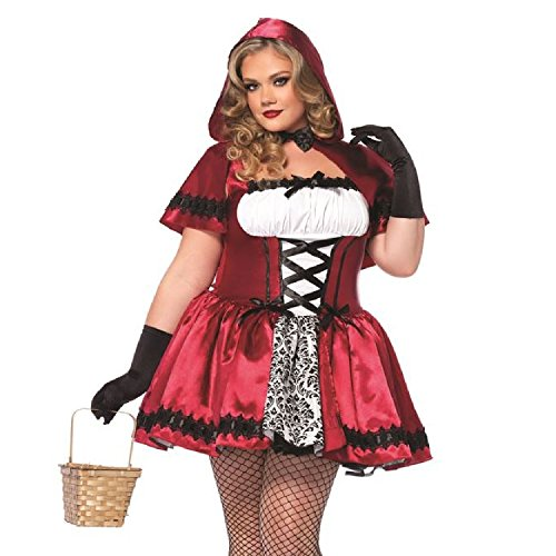 Leg Avenue Women's Plus-Size 2 Piece Gothic Red Riding Hood Costume, Red/White, 1X/2X for $<!--$41.40-->