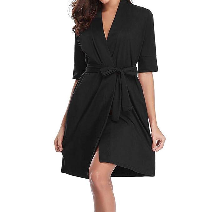 Luckycat Algodón para Mujer Half Robe Soft Kimono Robes Knit Albornoz Loungewear Ropa de Dormir (