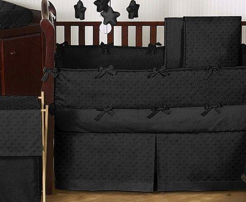 Sweet Jojo Designs 9-Piece Solid Black Minky Dot Neutral Baby Girl Boy Unisex Bedding Crib Set