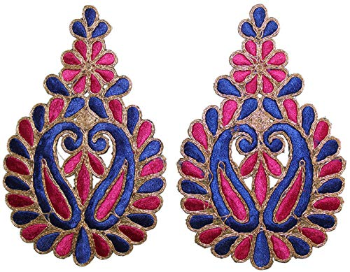 Paisley Applique,Decorative zari Applique,Royal Patch,Gown Patch,Costume Appliques,Dress Accessories Indian Patch-Price for 02 patches-IDE38