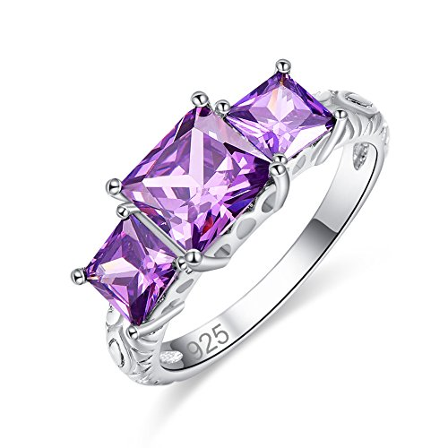 Veunora 925 Sterling Silver 7x7mm Princess Cut Amethyst Filled 3-Stone Ring for Women Size 6