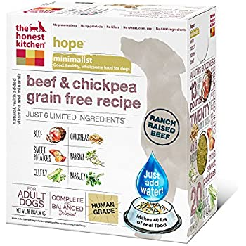 The Honest Kitchen Hope Grain Free Dog Food   Dehydrated Minimalist Limited  Ingredient, Beef U0026 Chickpea, 10 Lbs (Makes 40 Lbs)