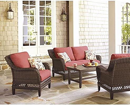 Charmant Amazon.com: Hampton Bay Woodbury 4 Piece Wicker Outdoor Patio Seating Set  With Chili Cushion: Automotive