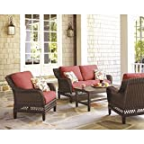 Hampton Bay Woodbury 4-Piece Patio Seating Set with Dragon Fruit Cushions