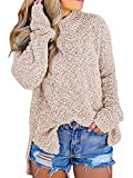 Imily Bela Womens Women Sweatshirts - Long Sleeve V Neck Fleece Fuzzy Loose Pullover Sweater Tops Khaki