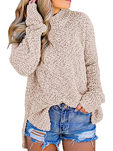 Imily Bela Womens Fuzzy Knitted Sweater Sherpa Fleece Side Slit Full Sleeve Jumper Outwears Khaki