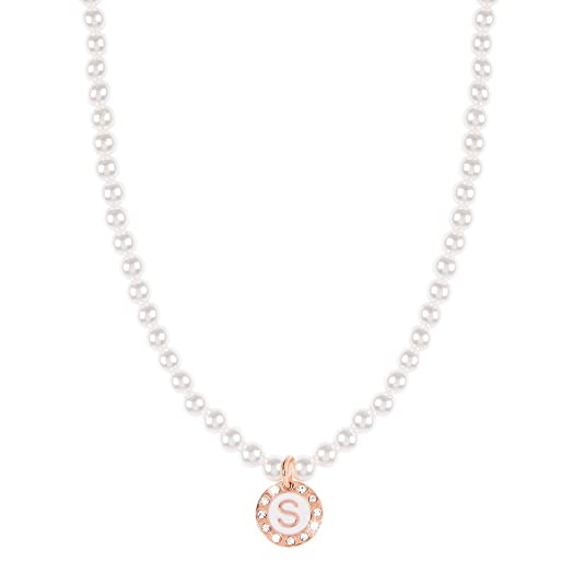 DVCCIO GRACE COLLECTION Girocollo perle bianco lettera pendente smalto bianco