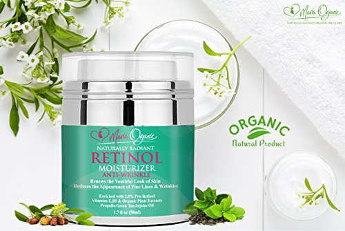 Anti Aging Retinol Cream, Natural Anti Wrinkle Night and Day Moisturizer  for Face, Neck and Eyes, with Hyaluronic Acid, Reduces Wrinkles Fine Lines