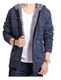 Men's Autumn Winter Knit Thick Cardigan Sweater Knitwear with Hood