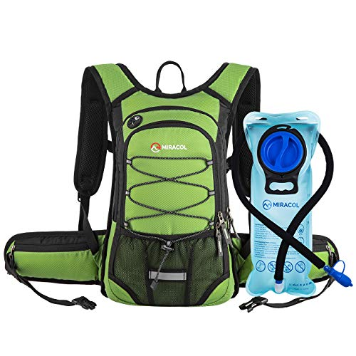 MIRACOL Hydration Backpack with 2L Water Bladder, Thermal Insulation Pack Keeps Liquid Cool up to 4 Hours, Perfect Outdoor Gear for Skiing, Running, Hiking, Cycling (Grass Green)