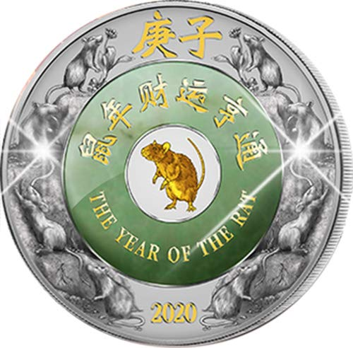 2020 LA Jade Lunar Year PowerCoin RAT 2 Oz Silver Coin 2000 Kip Laos 2020 2 Oz Proof