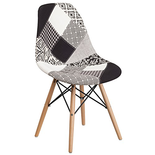 Flash Furniture Elon Series Turin Patchwork Fabric Chair with Wood Base
