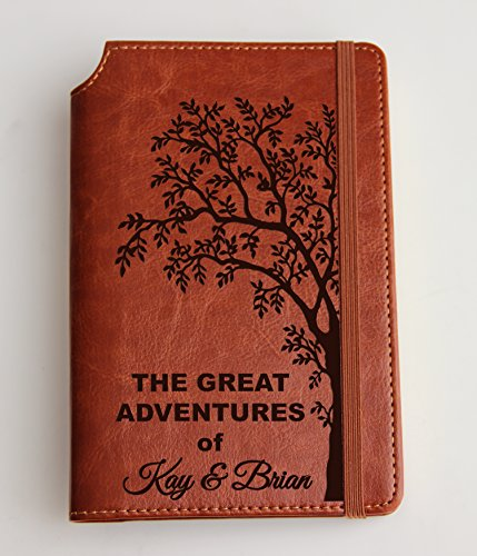 Customizable laser engraved Adventure Notebook Journal with custom quote custom text leather bound with elastic band with the same color
